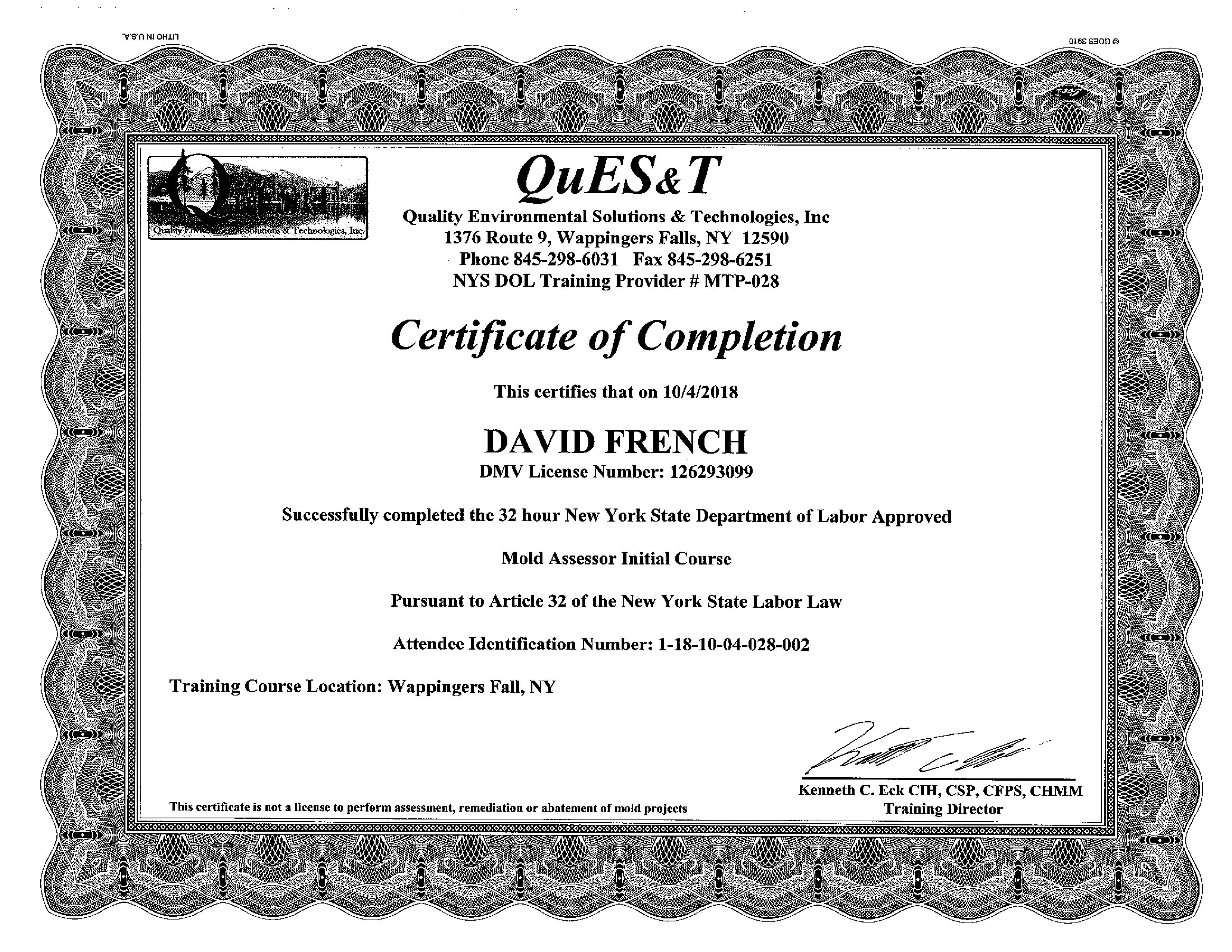 Mold Certificate